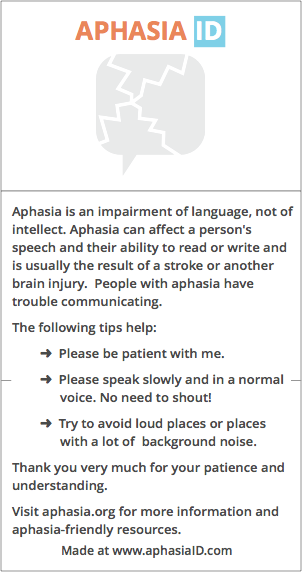 Aphasia ID. Create a customized ID right at home.
